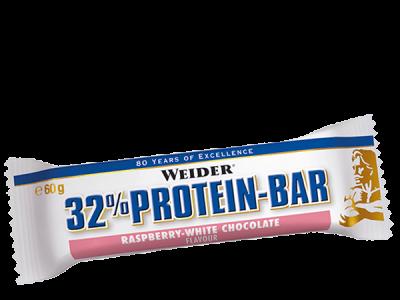 Weider 32% Protein Bar 60g Riegel Himbeer Weiße Schokolade MHD 06/19