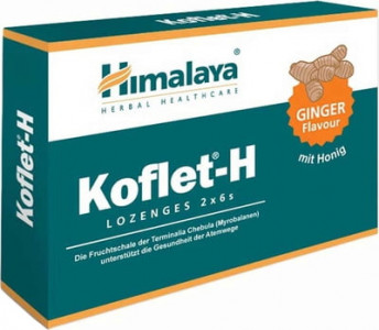 Himalaya Koflet-H Lozenges 12 Lutschtabletten mit Honig, bei Halskratzen