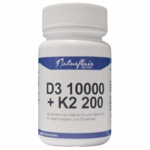 Naturflair Vegan Vitamin D3 10000 I.E. + K2 90 Kapseln! Cholecalciferol, MK7