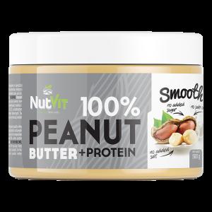 NutVit 100% Peanut Butter + Protein 500g, Erdnussbutter mit Whey