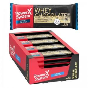 Power System Whey Chocolate 50g Riegel, 30% Protein, weiße Schokolade