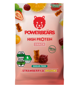 Powerbears High Protein Snack Gummidrops 50g, sugarfree! 30% Protein! Strawberry & Orange