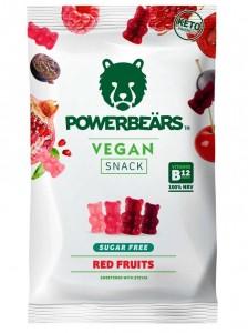Powerbears Vegan Snack Gummidrops 50g, sugarfree! Red Fruits mit Vitamin B12