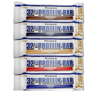 Sonderposten Weider 32% Protein Bar 24x60g Riegel Kiste MHD!