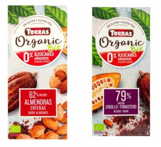 Torras Schokolade BIO Organic 100g Tafel OHNE Zuckerzusatz!
