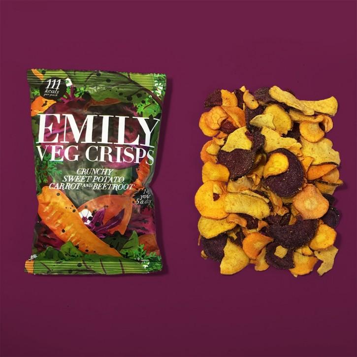 Emilycrisps Emily Veg Crisps 23g, vegane Gemüsechips knusprige Süßkartoffel, Karotte und Rote Beete