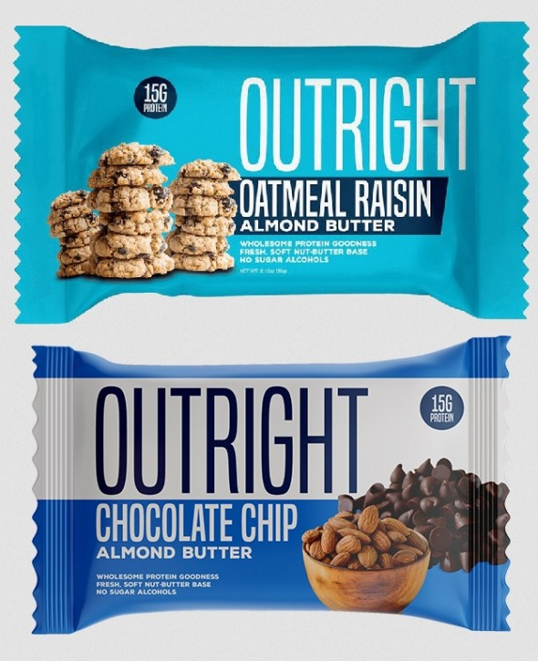 MTS Nutrition Outright Bar 60g made from Almond Butter! Chocolate Chip Almond Butter