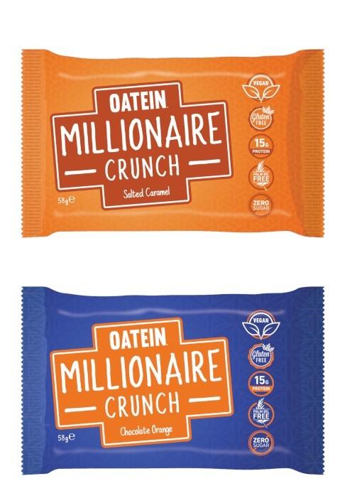 Oatein Millionaire Crunch 58g veganer Proteinriegel mit mega Crunch-Crisp Schicht! Salted Caramel