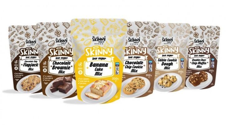 Skinny Food Skinny low Sugar Backmischungen 200g, mehrere Varianten Low Calorie Chocolate Chip Flapjack Mix