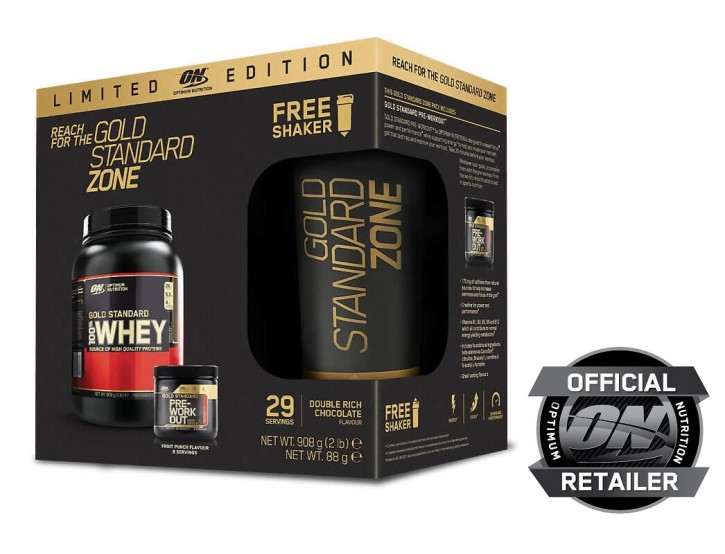 Optimum Nutrition Gold Standard 100% Whey Dose 908g + Pre-Workout + MEGASHAKER!