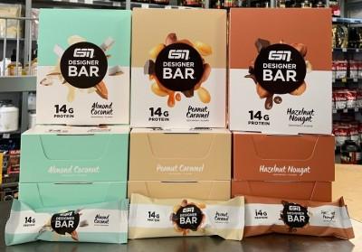ESN Designer Bar Bar 45g Riegel, 31% Protein, flüssiger Kern! Hazelnut & Nougat