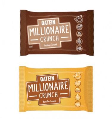 Oatein Millionaire Crunch 58g vegetarischer Proteinriegel mit mega Crunch-Crisp Schicht! Hazelnut Caramel