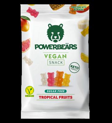 Powerbears Vegan Snack Gummidrops 50g, sugarfree! Tropical Fruits
