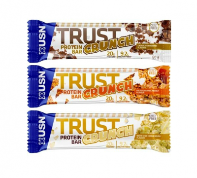 USN Trust Crunch High Protein Bar 60g Riegel, flüssige Füllung! Triple Chocolate