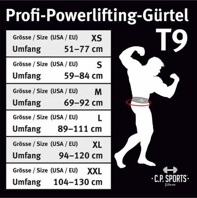 C.P. Sports Profi-Powerlifting-Gürtel Leder schwarz M - XL